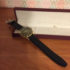 Henry London watch with black leather band. NWT